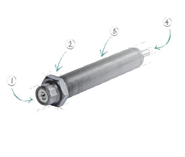 Einstellbare, hydraulische Stoßdämpfer STD-14-H und STD-14-W